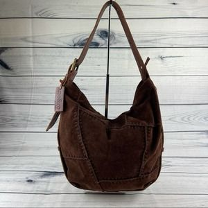 Mo & Co Anthro Brown Leather & Suede Shoulder Bag